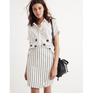NEW Madewell Wrap Mini Skirt in Stripe White Blue